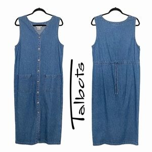 Talbots Sleeveless Denim Button Up Maxi Dress